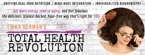 Erika Herman's TOTAL HEALTH REVOLUTION (ErikaHerman.com): Brand name and slogan, brand story, copywriting, graphic design, logo and website design + development, content writing (blogs) (PICTURED: logo)